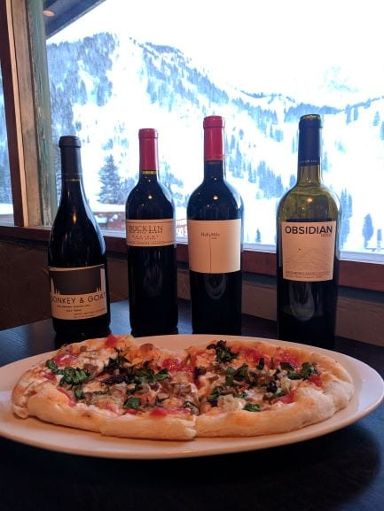 Pizza and wine.
